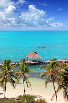 Luftbild contoy tropische karibikinsel mexiko