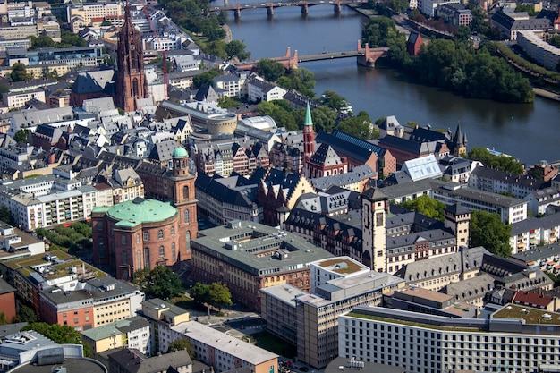 Luftbild der stadt frankfurt, deutschland