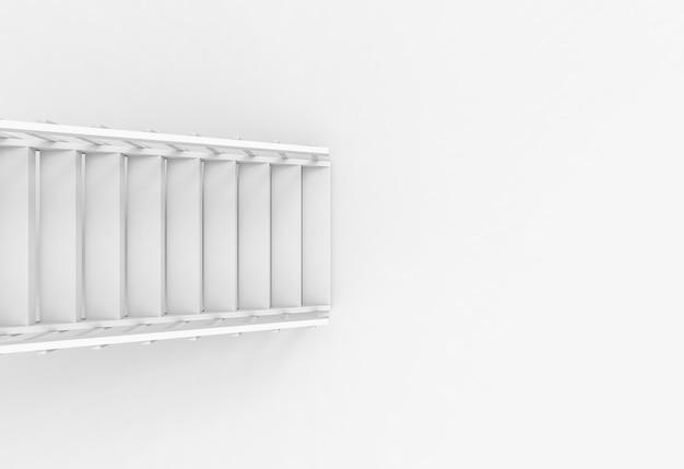 Luftbild des modernen weißen treppenleiterfallbodenhintergrundes.