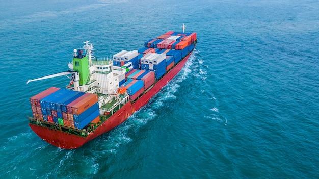 Luftbild draufsicht container frachtschiff