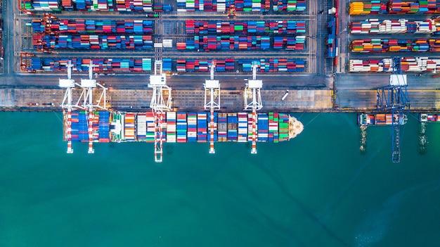 Luftbild draufsicht containerfrachter, business import export logistik und transport.