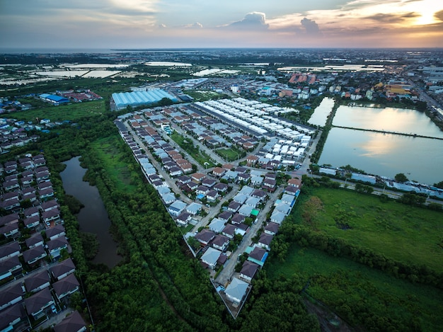 Luftbild über die privathäuser