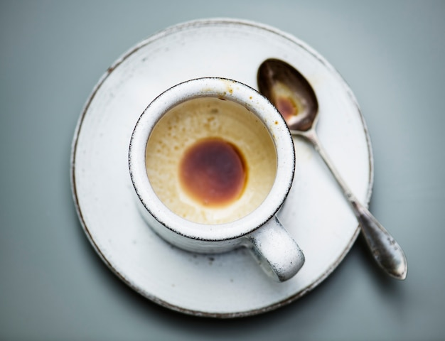 Luftbild von heißem kaffee