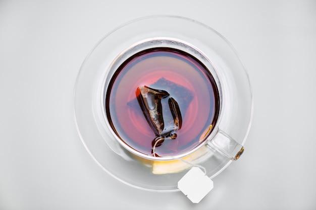Luftbild von heißem tee