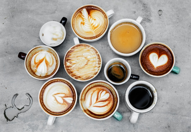 Luftbild von verschiedenen kaffee