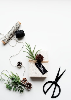 Luftbild von weihnachtsgeschenk-boxen