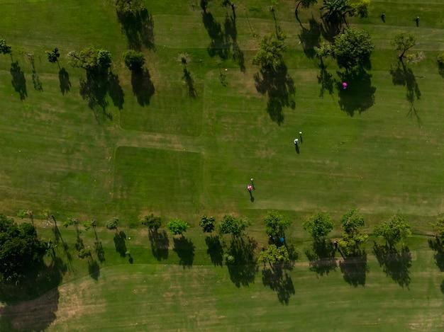 Luftdraufsichtfoto vom fliegenbrummen des golfplatzes, üppiges grünes gras auf golfplatz