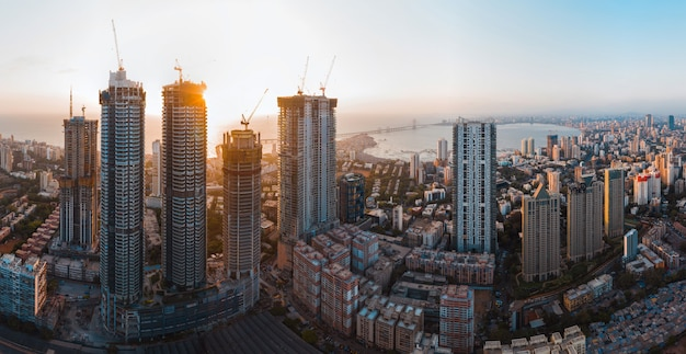Luftpanorama der skyline der stadt mumbai mumbai