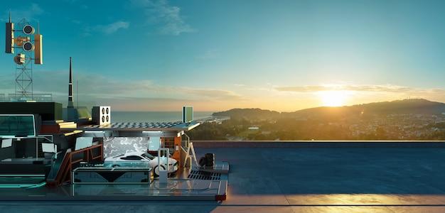 Luftpanoramaansicht des elektroautos und der futuristischen ladestation mit schöner sonnenaufganglandschaft. saubere energiezukunft und ökologie des verkehrskonzepts. fotorealistisches 3d-rendering.