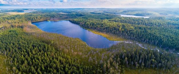 Luftpanoramablick auf wälder und seen der region karelien, russland