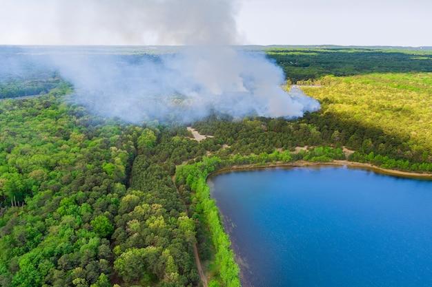 Luftpanoramablick mit starkem rauch steigt im wald in feuerbrennenden bäumen in der nähe von teich auf