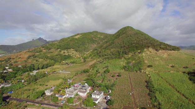 Luftszene des grünen mauritius festland