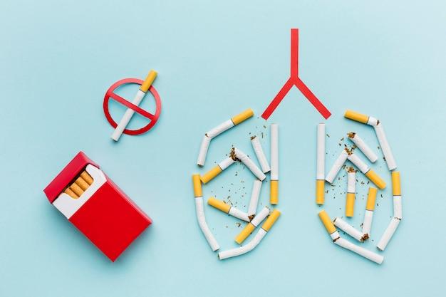 Lungenform mit zigarettenkonzept