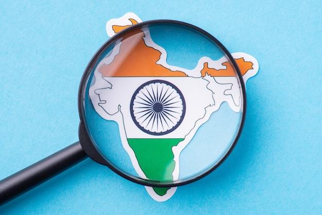 Lupe auf der karte von indien