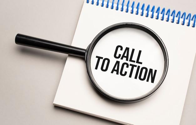 Lupe mit dem wort call to action auf diagrammhintergrund