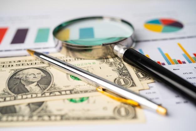 Lupe mit us-dollar-banknoten auf millimeterpapier