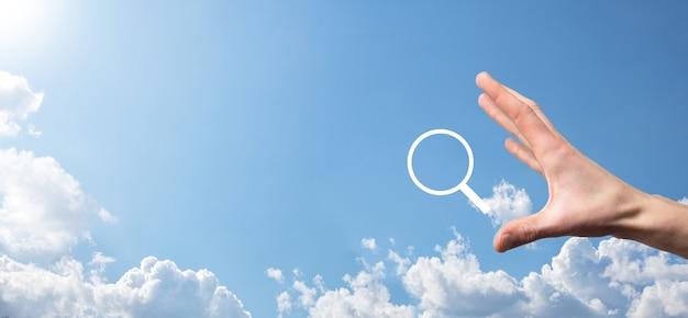 Lupe, suchsymbol. konzept der suchmaschinenoptimierung, kundensupport. internet surfen