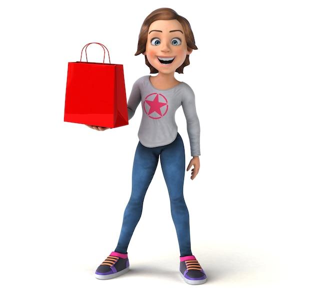 Lustige 3d-darstellung eines cartoon-teenager-mädchens