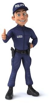 Lustige 3d-figur eines cartoon-polizeibeamten