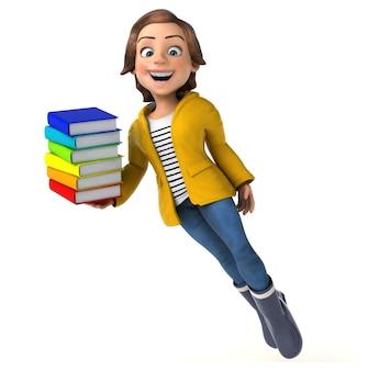 Lustige 3d-figur eines cartoon-teenager-mädchens