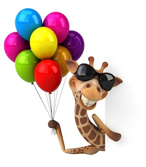 Lustige 3d giraffe mit luftballons
