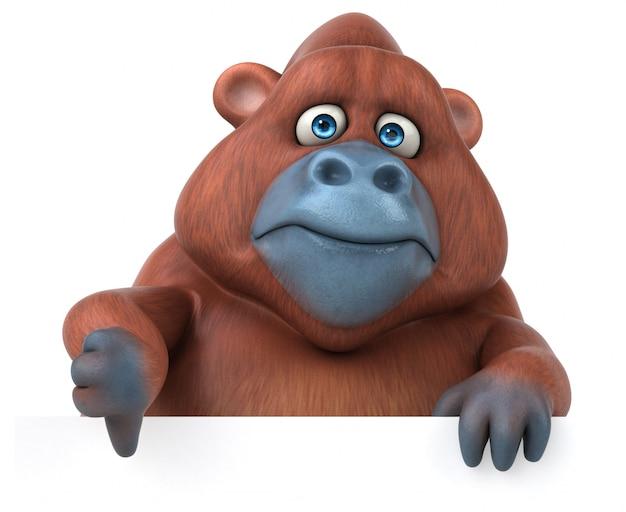 Lustige 3d-gorilla-charakterillustration, die daumen nach unten zeigt