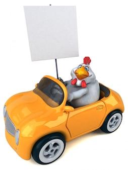 Lustige 3d hühnerillustration, die ein auto fährt und ein plakat hält