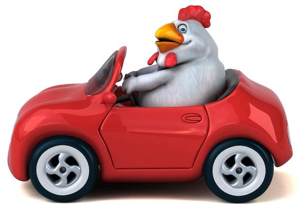 Lustige 3d hühnerillustration, die ein auto fährt