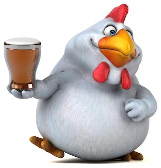 Lustige 3d hühnerillustration, die ein glas bier hält