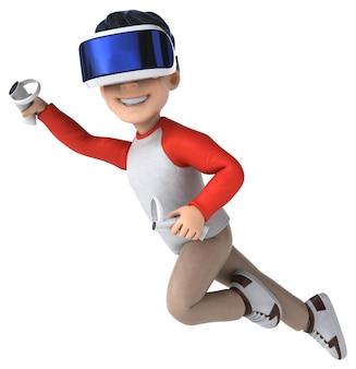 Lustige 3d-illustration eines cartoon-kindes mit einem vr-helm