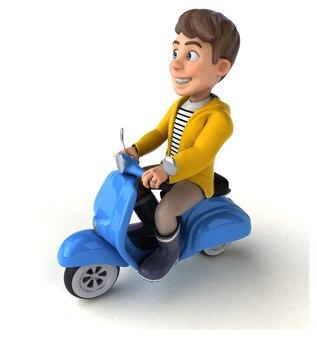 Lustige 3d-illustration eines cartoon-kindes mit regenkleidung