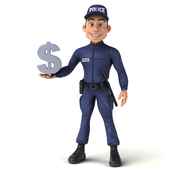 Lustige 3d-illustration eines cartoon-polizeibeamten