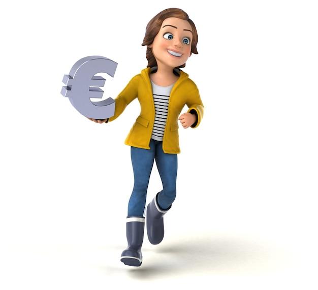 Lustige 3d-illustration eines cartoon-teenager-mädchens
