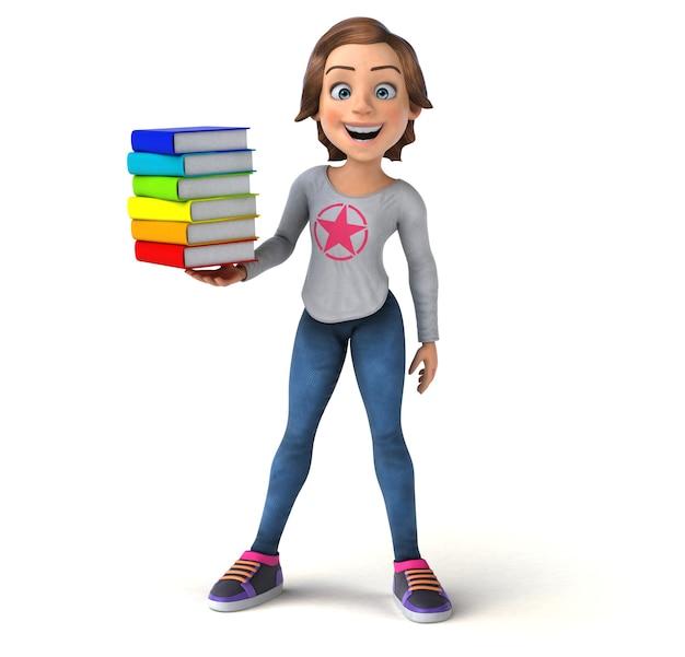 Lustige 3d-illustration eines karikatur-teenager-mädchens mit bunten büchern