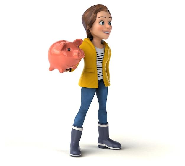 Lustige 3d-illustration eines karikatur-teenager-mädchens mit sparschwein