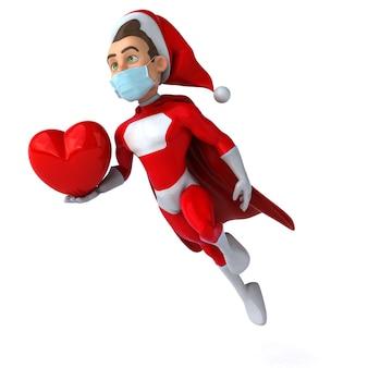 Lustige 3d-illustration eines karikatur-weihnachtsmanns mit einer maske