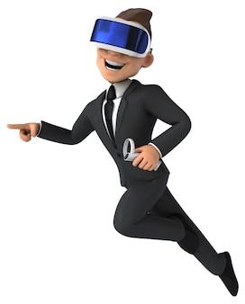 Lustige 3d-illustration eines karikaturgeschäftsmannes mit einem vr-helm