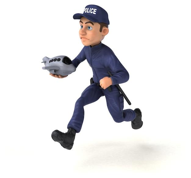 Lustige 3d-illustration eines karikaturpolizisten