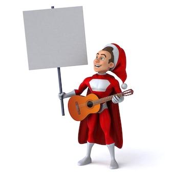 Lustige 3d-illustration eines lustigen super-weihnachtsmanns