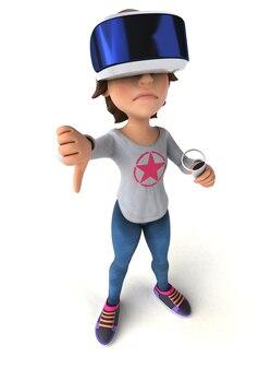 Lustige 3d-illustration eines mädchens mit einem vr-helm