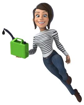 Lustige 3d-karikatur lässige charakterfrau