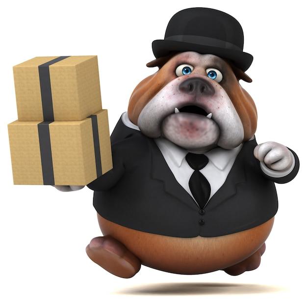 Lustige bulldogge - 3d-illustration Premium Fotos