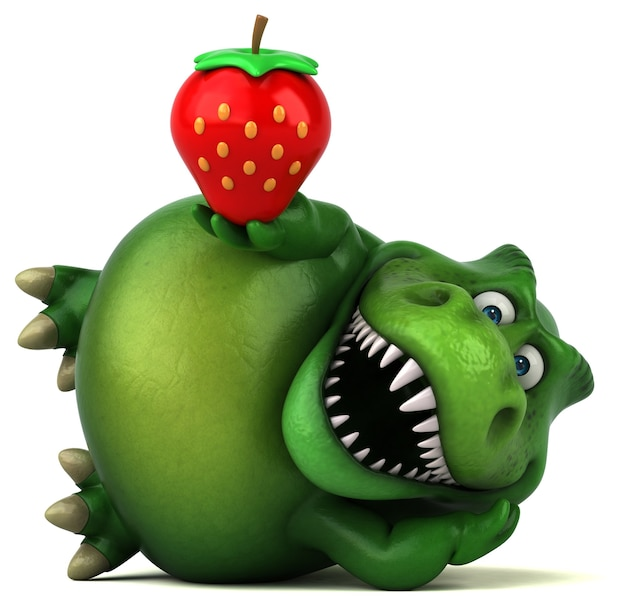Lustige dinosaurier-3d-illustration mit erdbeere