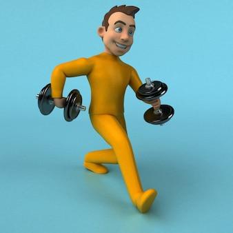Lustige gelbe 3d-karikaturfigur mit hanteln
