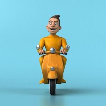 Lustige gelbe 3d-karikaturfigur