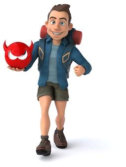Lustige illustration eines 3d-cartoon-backpackers