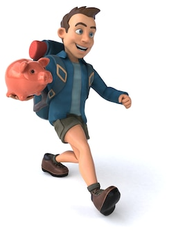 Lustige illustration eines 3d-cartoon-backpackers