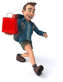 Lustige illustration eines 3d-cartoon-rucksacktouristen