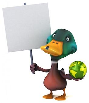 Lustige illustrierte ente, die einen globus und ein plakat hält