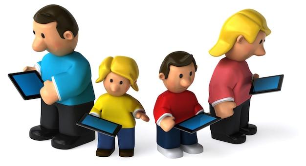 Lustige illustrierte familie, die tabletten hält
